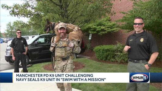 Manchester police K-9 unit challenging Navy SEALs K-9 unit in 'Swim with a Mission'
