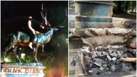 'Racist' elk statue targeted by mob to be removed, after inferno causes 'severe' damage to Portland landmark
