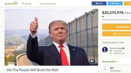 Border wall GoFundMe shut down after raising $20mn, campaigners pledge to build wall themselves