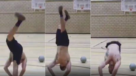 Whoosh! British gymnast Dominick Cunningham nails an amazing front flip basketball trick shot