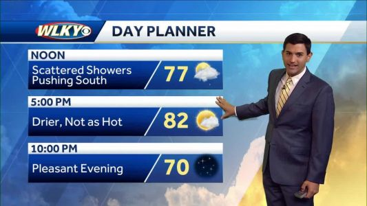 Few showers and cooler Monday