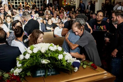 The husband of an El Paso victim worried few would come to her service - hundreds of strangers showed up