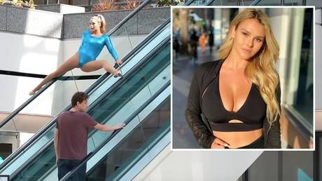 'She has got MOVES!' Instagram bombshell Kinsey Wolanski turns heads with impromptu gymnastic routines in public places