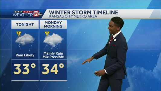 Rain likely overnight shifting to snow by Monday afternoon