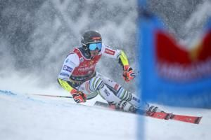 Zubcic dominates final run to win GS in dense Alps snowfall
