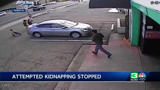 Surveillance video shows man jumping in to help amid attempted kidnapping in California