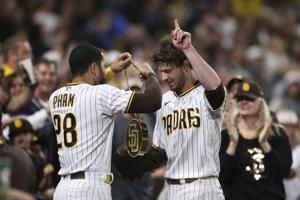 Myers homers twice, Paddack fans 11, Padres beat Reds 8-2
