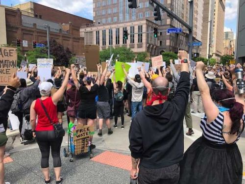 Protests over death of George Floyd happening in downtown Pittsburgh