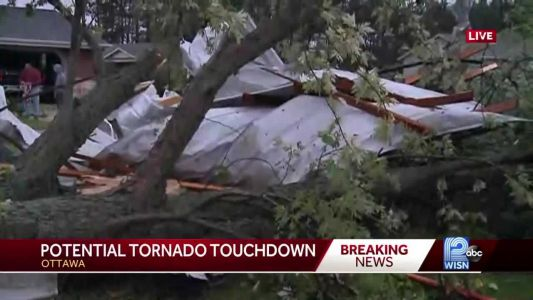 Possible tornado touchdown in Waukesha county
