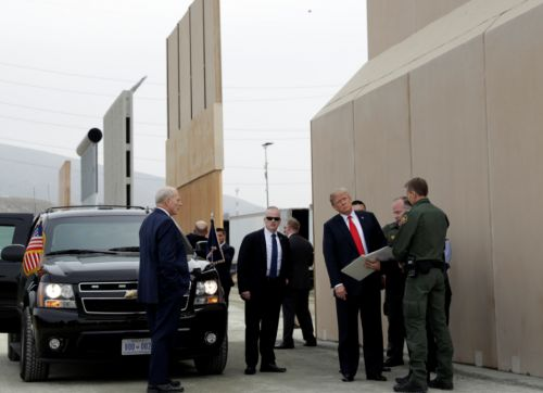 President Trump tours border wall prototypes near US and Mexico Border
