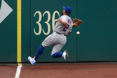 Mets' Dominic Smith fine after crashing into fence, lobbies to keep DH