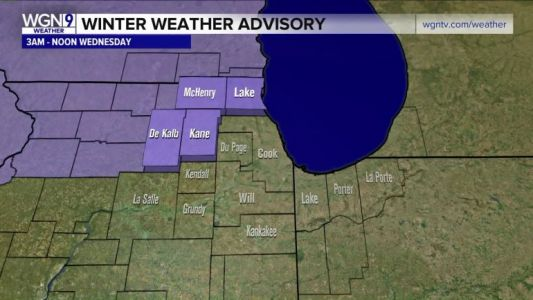 Winter Weather Advisory issued for counties north and west of Chicago