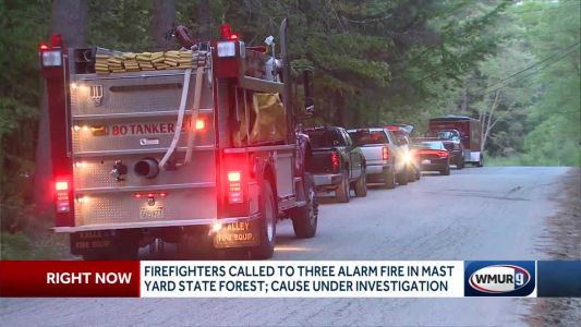Crews fight three-alarm brush fire in Hopkinton