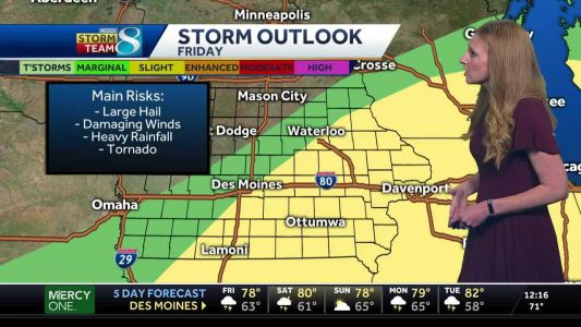 Potential for hail, damaging winds, heavy rain and tornadoes today