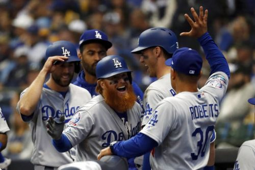 Dodgers 4, Brewers 3 | Series tied, 1-1: Dodgers Stage Another Late Rally Against the Brewers. This Time It Works
