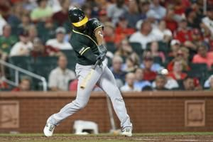 Pinder, Semien and Olson homer as A's beat Cardinals 7-3