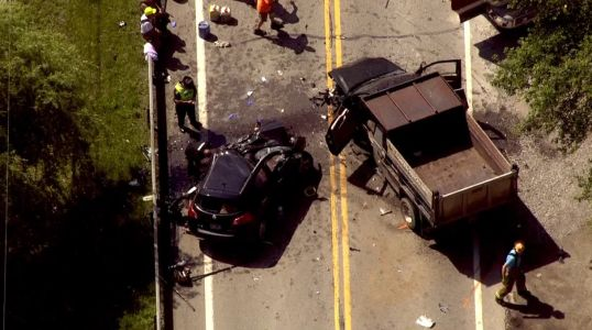 Two flown to hospital after crash with car, dump truck in Washington Township