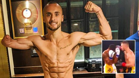 'What an achievement': Premier League legend's MMA son who was born without a right arm wins Muay Thai title with knockout