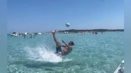 'God save the Queen': Zlatan trolls England as he recreates epic overhead kick on holiday