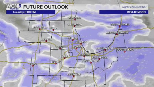 Snow expected in time for Tuesday's evening rush hour