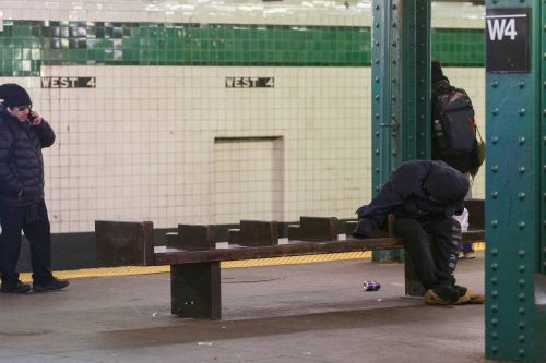 MTA removes backs from benches at subway station to stop homeless sleepers