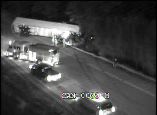 All lanes blocked at NB 71 at Watterson Expressway due to overturned semi