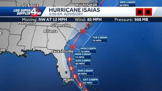 Isaias approaches southeast coast, landfall possible in Carolinas Monday