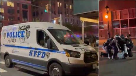 Dozens arrested as anti-police protesters march through Brooklyn vandalizing NYPD squad cars & storefronts