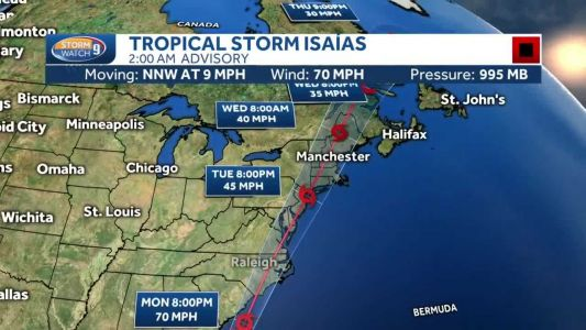 Tropical storm watch issued for New Hampshire ahead of arrival of Isaias