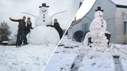 'Frosty had the last laugh': Vandal tries to run over giant snowman, hits tree trunk instead
