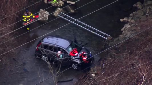 Car goes down embankment, crashes into creek in McKeesport