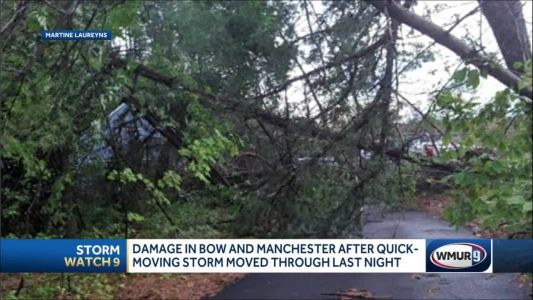 Quick-moving, intense storms cause some damage in Bow, Manchester