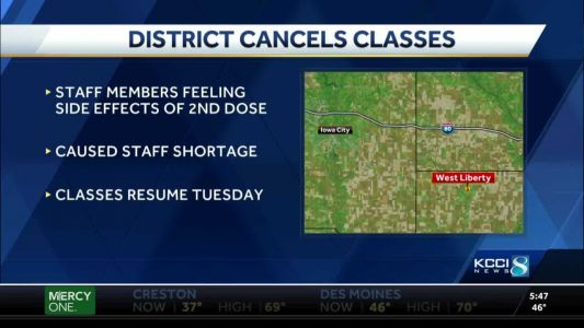 Iowa district cancels classes due to staff vaccination side effects