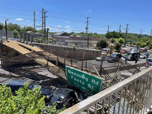 Injuries reported after pedestrian bridge collapses onto highway in DC