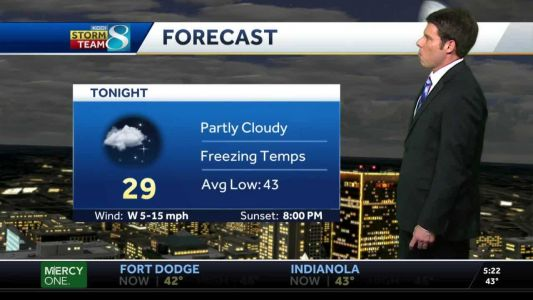 Tuesday evening partly cloudy with temps below freezing