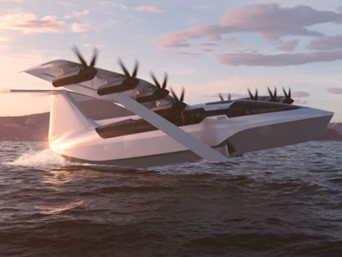 A startup is developing an electric flying ferry that's part plane, part boat and can go as fast as 180 mph- see how it works