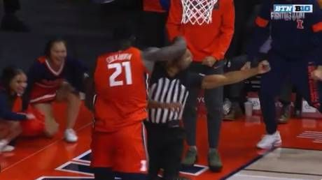 WATCH: College basketball player PUNCHES official in celebration gone wrong