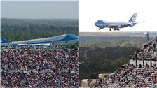 Trump kicks off Daytona 500 race crowd with limo loop, Air Force One flyby