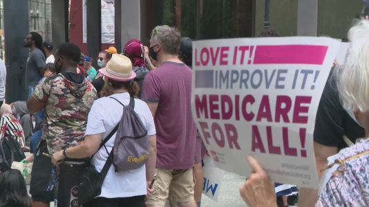 Over 100 people march in support of Medicare for All downtown