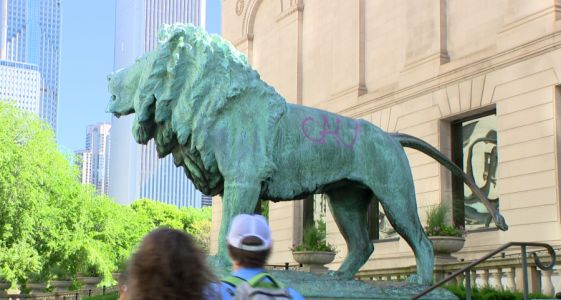 Art Institute's lion statue vandalized with spray paint