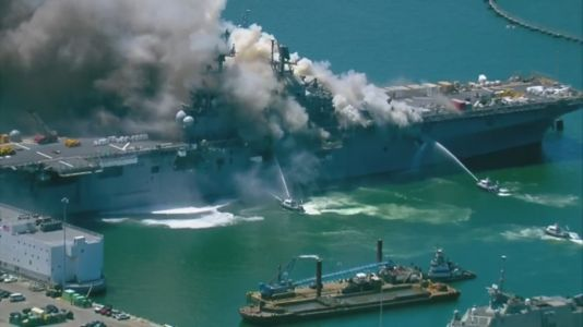 Fire crews battle San Diego navy ship fire, 18 sailors injured
