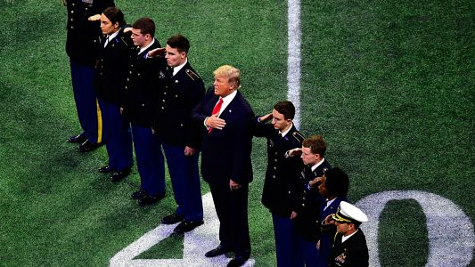 Is Donald Trump at the College Football Playoff championship between LSU, Clemson?