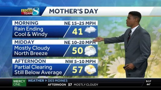 Mother's Day starts rainy, clears partially Sunday afternoon