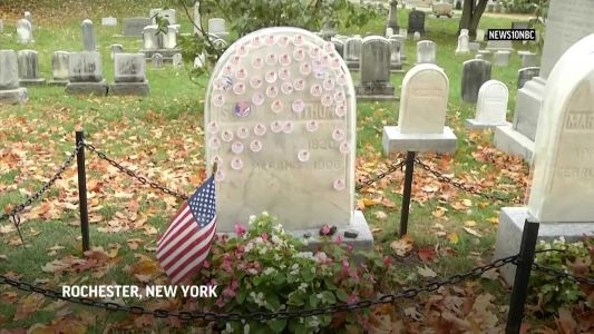Susan B. Anthony's headstone gets protection from voter stickers