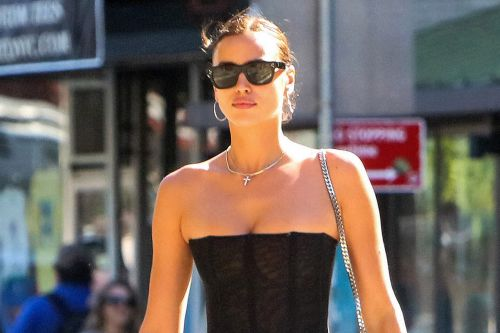 Irina Shayk bares her hips in a corset and low-rise jeans