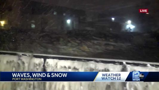 Waves, winds, and whipping snow slamming Port Washington