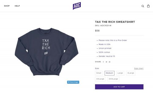 AOC selling $60 'tax the rich' sweatshirt, other merch on her site