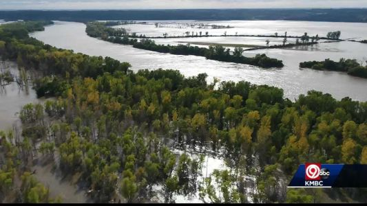 Farmland remains underwater after historic flooding along Missouri River