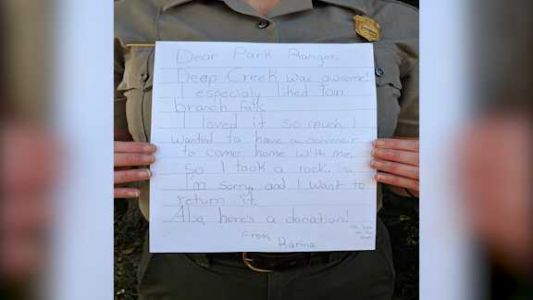 Girl feels bad after taking rock from national park, mails it back with apology letter