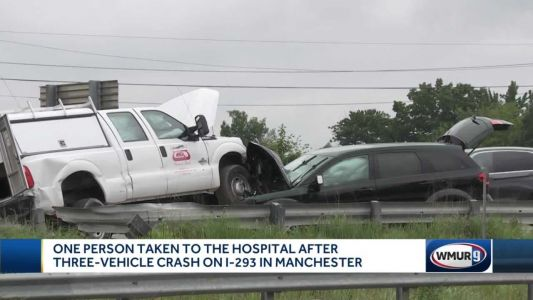 Person hospitalized after three-vehicle crash on I-293 in Manchester
